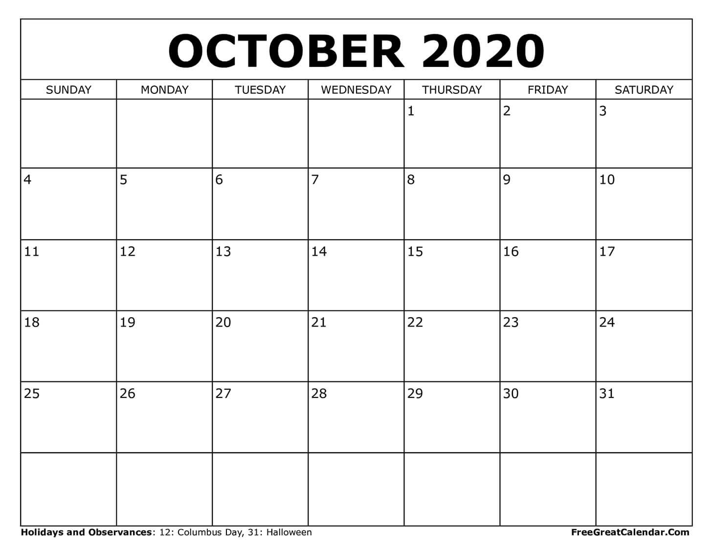 View Printable Free Printable Wall October 2020 Calendar Gif
